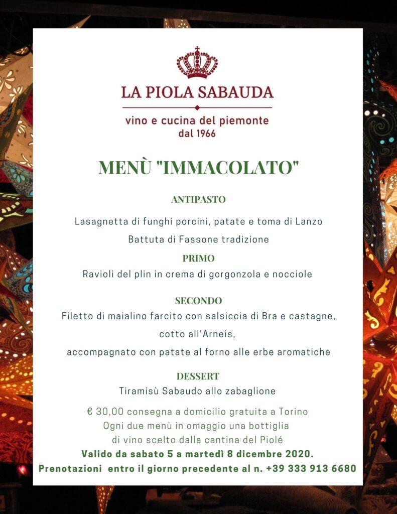 menù immacolato. lo speciale menù 8 dicembre de la piola sabauda.